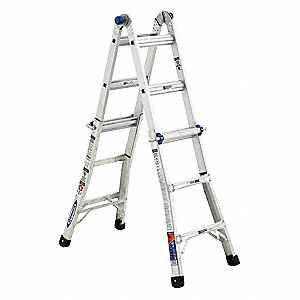 13 ft. Aluminum Multipurpose Ladder, 300 lb. Load Capacity, 31.5 lb. Net Weight