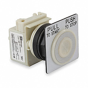 Illuminated Push Button Operator, White, Maintained Push / Pull Action, 6VAC Lamp Voltage