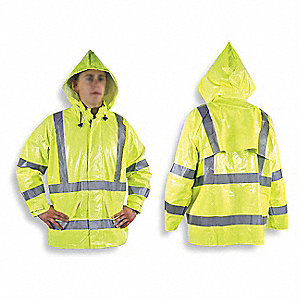 Arc Flash Rain Jacket W/Hd,M,HiVis Ylw