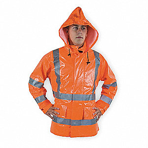 Arc Flash Rain Jacket W/Hd,2XL,HiVis Orn
