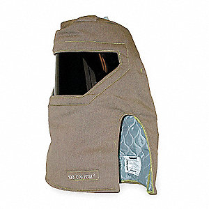 Khaki Arc Flash Hood, Size: Universal, 100 cal/cm2 ATPV Rating, Hazard Risk Category (HRC) 4