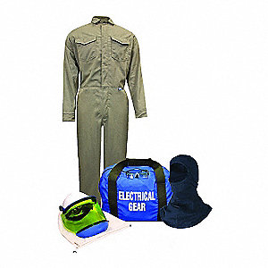 Khaki L Arc Flash Protection Coverall Kit, 8.5 Cal/cm² ATPV Rating, 2 Hazard Risk Category (HRC)