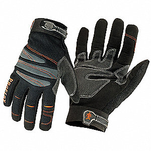 Anti-Vibration Mechanics Gloves, Visco Elastic Gel Polymer/PVC/Synthetic Leather Palm Material, Blac