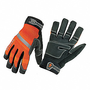 Cold Protection Gloves, Thinsulate Lining, Neoprene Wrist Cuff, Orange/Black, L, PR 1