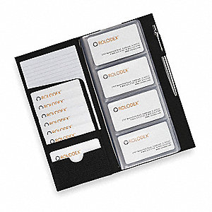 Business Card Book,96 Cards,Blk,Leather