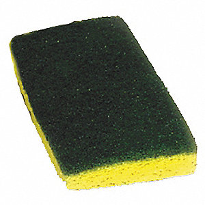 "6"" x 3-1/2"" Nylon Scrubber Sponge, Green, Yellow, 20PK"