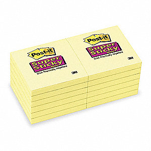Super Sticky Notes,3 x 3 In.,Yellow,PK12