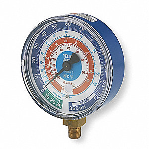 Gauge,3-1/8 In Dia,Low Side,Blue,350 psi