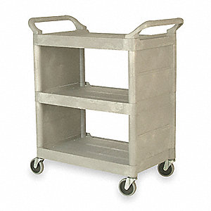 Enclosed  Cart,Poly,Platinum,300 lb.