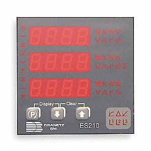 Power Meter, Line to Neutral 290 V, Line to Line 500 VAC Input Voltage, 1 or 3 Phase, 5 Amps