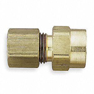 "Female Connector, 1/4"" Tube Size, 1/8"" Pipe Size - Pipe Fitting, Metal, Package Quantity 10"