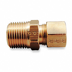 "Brass Compression x MNPT Male Connector, 3/8"" Tube Size"