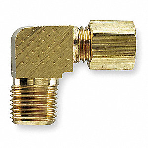 "Brass Compression x MNPT Extended Male Elbow, 90°, 1/4"" Tube Size"