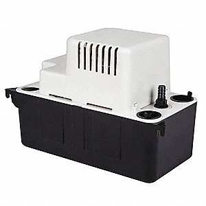 "1/30 HP Condensate Removal Pump, Medium Reservoir, 115VAC, 3/8""  Barb Discharge Size"
