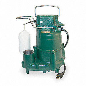 1/2 HP Submersible Sump Pump, Vertical Switch Type, Cast Iron Base Material