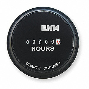 Hour Meter, 24VAC Operating Voltage, Number of Digits: 6, Round Bezel Face Shape