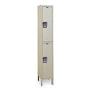 "Parchment Wardrobe Locker, (1) Wide, (2) Tier Openings: 2, 12"" W X 18"" D X 78"" H"