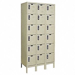 Box Lockr,Lvred,3 Wide, 6 Tier,Parchment