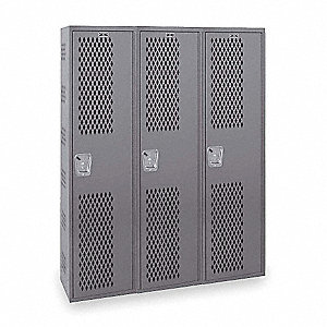 "Dark Gray Wardrobe Locker, (3) Wide, (1) Tier Openings: 3, 54"" W X 18"" D X 72"" H"