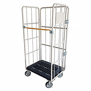 "31-1/2""L x 24""W x 67""H Gray Steel/Plastic 3-Sided Stock Cart, 1100 lb. Load Capacity, Number of Shel"