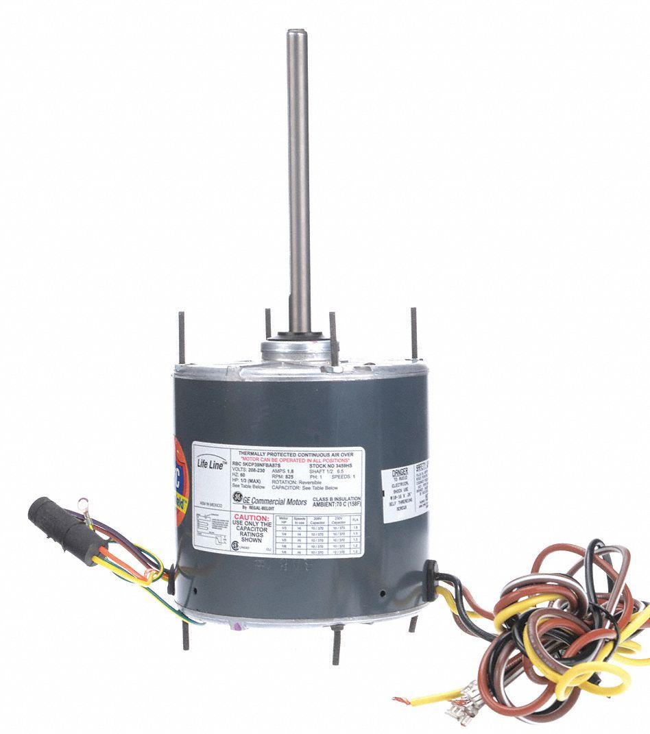 1 3 To 8 Hp Condenser Fan Motorpermanent Split Capacitor825 Nameplate Rpm208 230 Voltageframe Commercial Motor Wiring Genteq 2prc5 3459hs Grainger