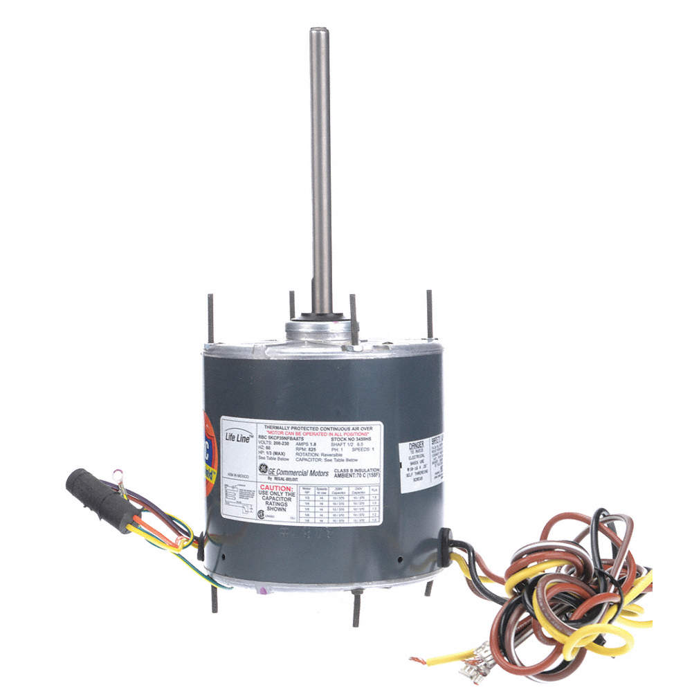 1/3 to 1/8 HP Condenser Fan Motor,Permanent Split Capacitor,825 Nameplate  RPM,208-230 Voltage,Frame
