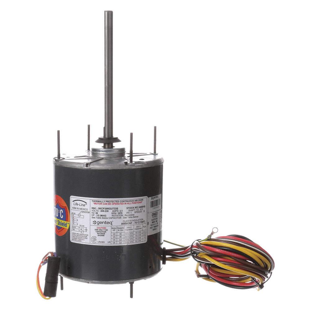 [DHAV_9290]  GENTEQ 1/2 to 1/5 HP Condenser Fan Motor,Permanent Split Capacitor,1075  Nameplate RPM,208-230 Voltage,Frame - 2PRC8|3468HS - Grainger | Outside Ac Fan Motor Wiring N859bs |  | Grainger