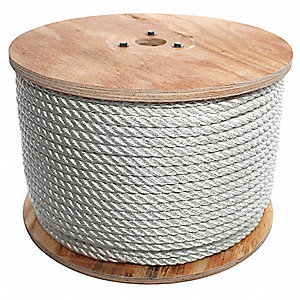 "Nylon Rope, 1/2"" Rope Dia., 600 ft. Length, White"