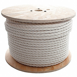 "Cotton Rope, 5/8"" Rope Dia., 600 ft. Length, White"