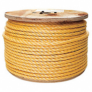 "Polypropylene Rope, 1"" Rope Dia., 600 ft. Length, Yellow"