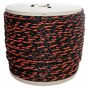 "Polypropylene Rope, 1/2"" Rope Dia., 600 ft. Length, Black/Orange"