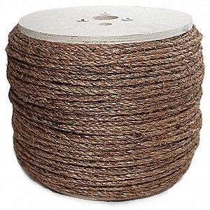 "Manilene/ Polypropylene Rope, 1/4"" Rope Dia., 1200 ft. Length, Brown"
