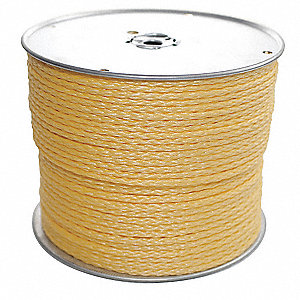 "Polypropylene Rope, 1/2"" Rope Dia., 300 ft. Length, Yellow"