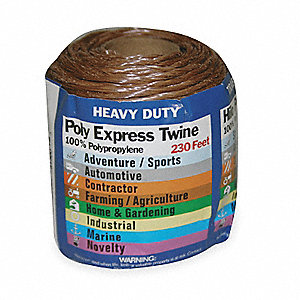 "1/14"" dia. Polypropylene Twine Tying and Bundling Rope, Brown, 230 ft."
