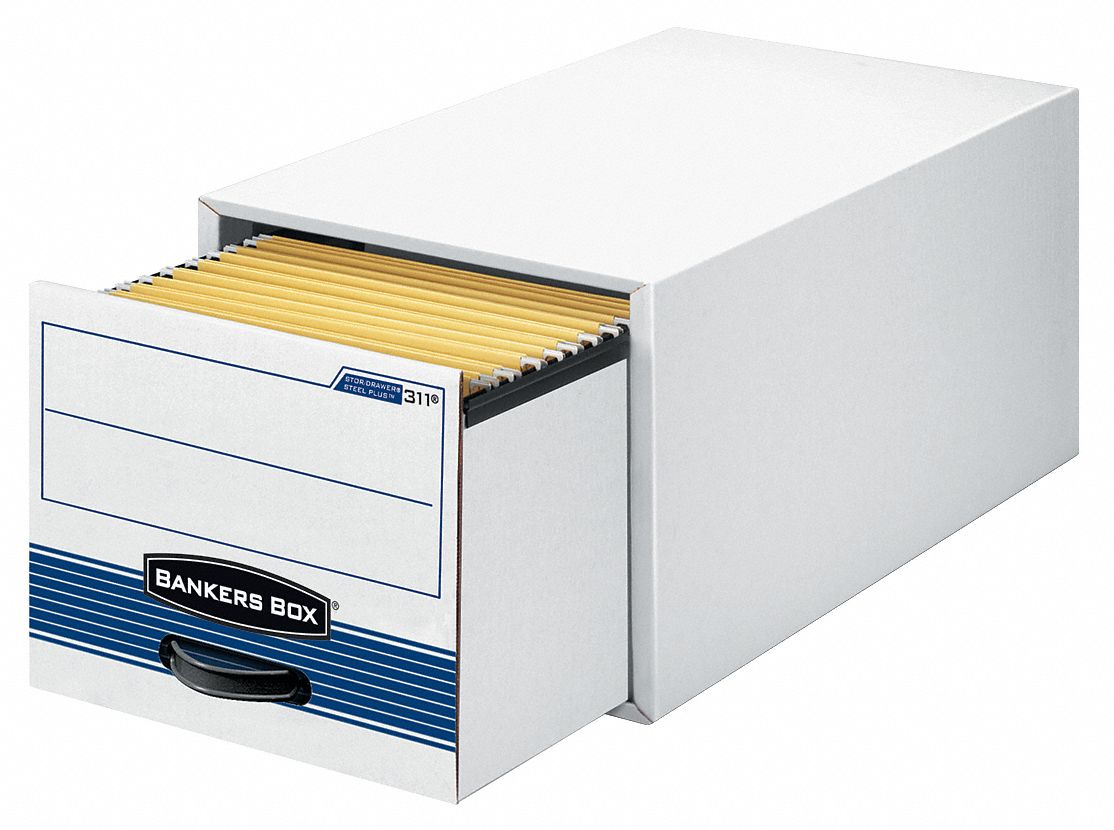 Record Storage Stackable Drawer,  10 3/8 in Height,  15 1/2 in Width,  23 1/4 in Depth