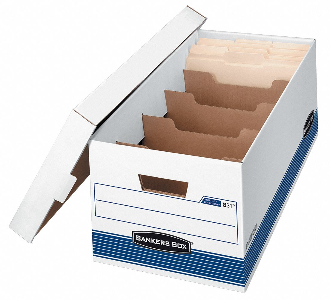 Record Storage Box,  10 in Height,  12 in Width,  24 in Depth,  650 lb Stacking Capacity