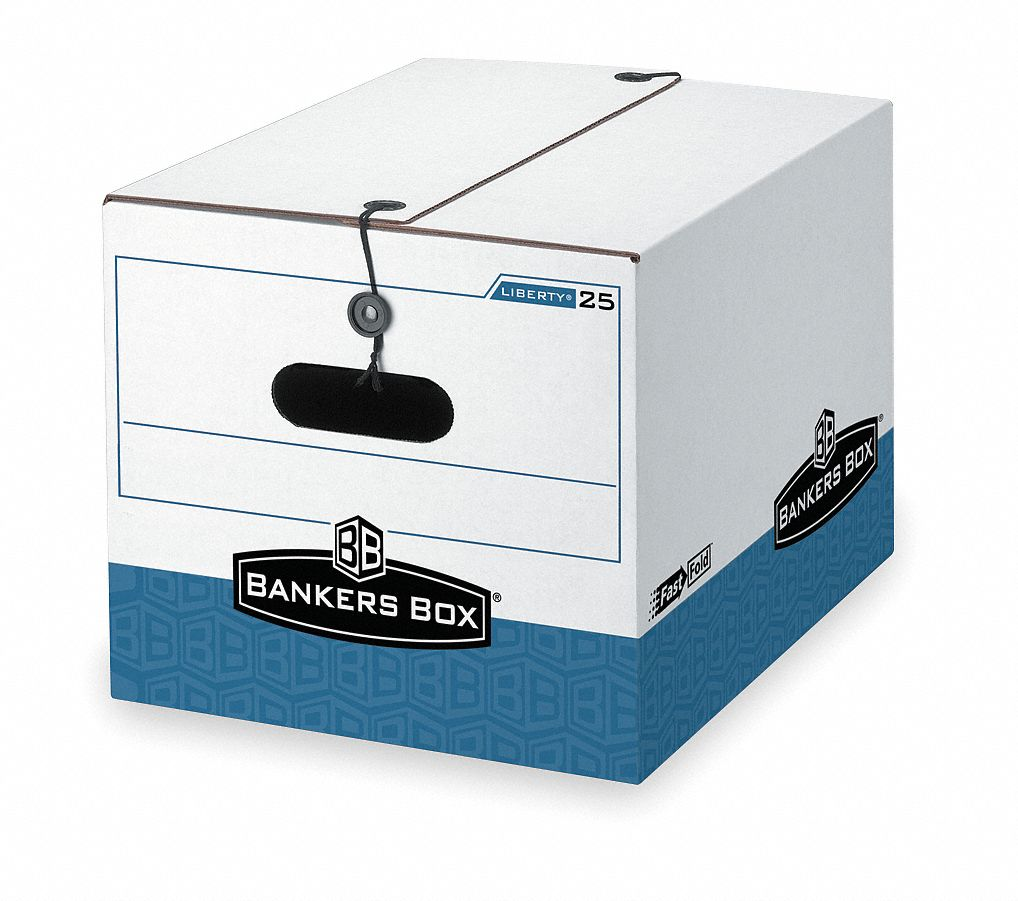 Record Storage Box,  10 1/4 in Height,  12 in Width,  15 1/2 in Depth,  550 lb Stacking Capacity
