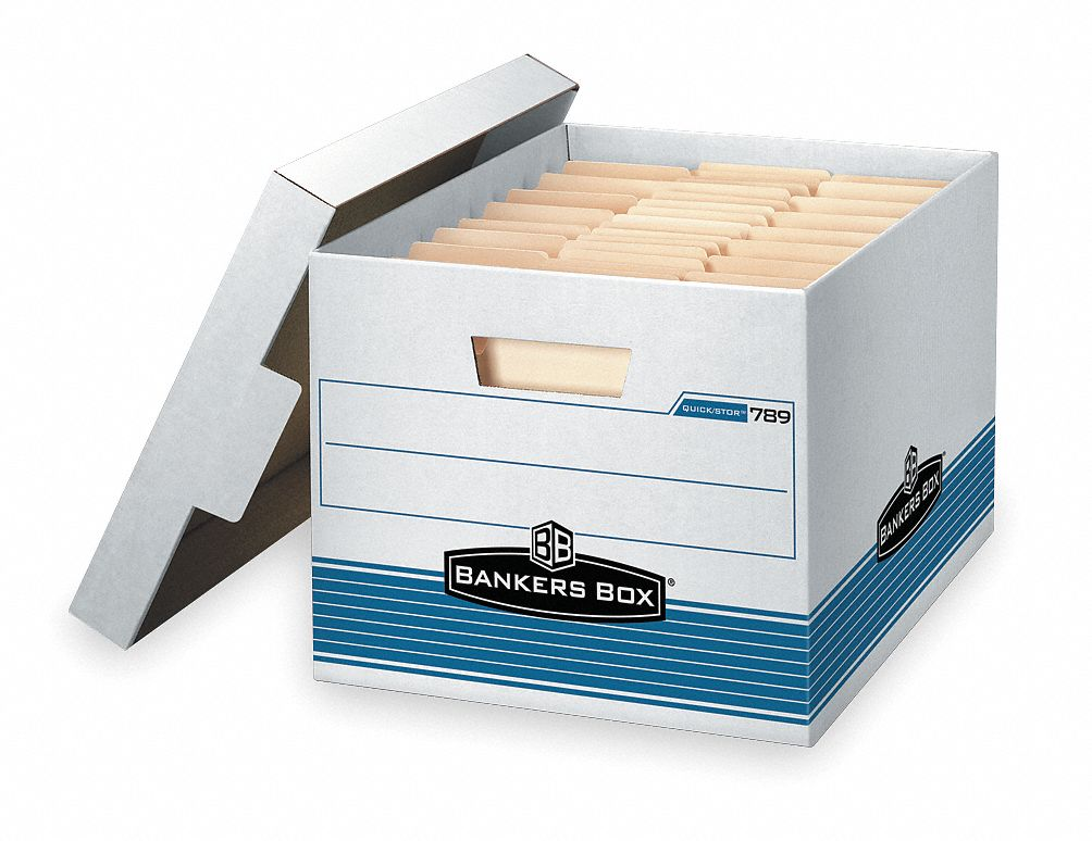 Record Storage Box,  10 in Height,  12 in Width,  15 in Depth,  550 lb Stacking Capacity