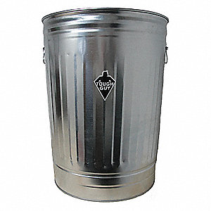 Round Open Top Utility Trash Can 27 H Silver