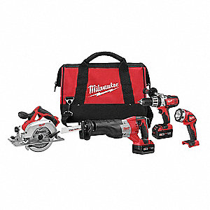 Cordless Combination Kit, 18.0 Voltage, Number of Tools 4