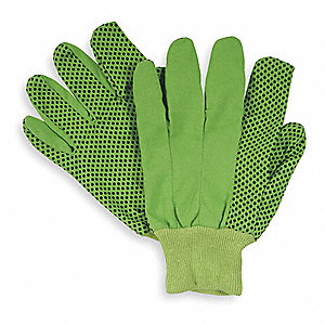 Canvas Gloves, Cotton Material, Knit Wrist Cuff, High Visibility Green, Glove Size: L