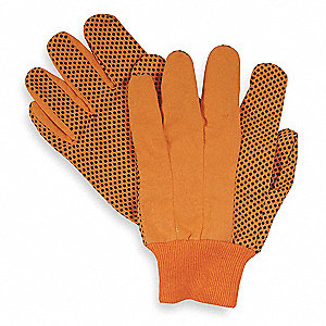 Canvas Gloves, Cotton Material, Knit Wrist Cuff, High Visibility Orange, Glove Size: L