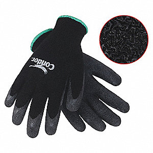 10 Gauge Crinkled Latex Coated Gloves, Size L, Black/Black