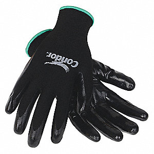 13 Gauge Smooth Nitrile Coated Gloves, Glove Size: XL, Black/Black