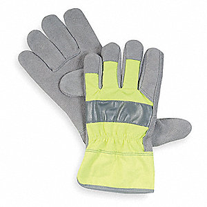 Cowhide Leather Work Gloves, Safety Cuff, High Visibility Lime, Size: XL, Left and Right Hand