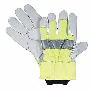 Cold Protection Gloves, Nylon with WarmTex® Lining, Knit Wrist with Safety Cuff, Hi Visibility Green