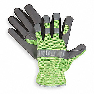 General Utility High Visibility Mechanics Gloves, Leather Cowhide Palm Material, Lime Green, M, PR 1