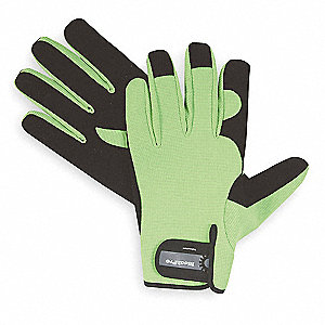 General Utility High Visibility Mechanics Gloves, Synthetic Leather Palm Material, Lime Green, 2XL,