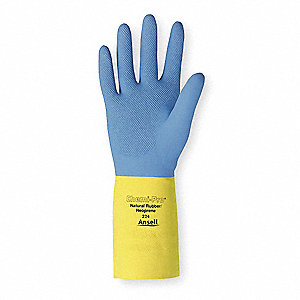 Chemical Resistant Gloves, Flock Lining, Blue/Yellow, PR 1