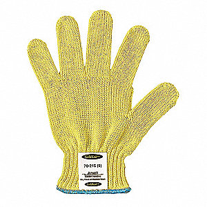 Uncoated Cut Resistant Gloves, ANSI/ISEA Cut Level 3, Kevlar® Lining, Yellow, S, PR 1